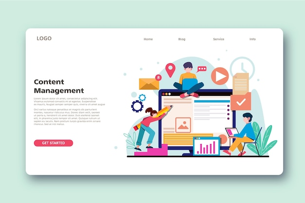Flat design cms landing page template
