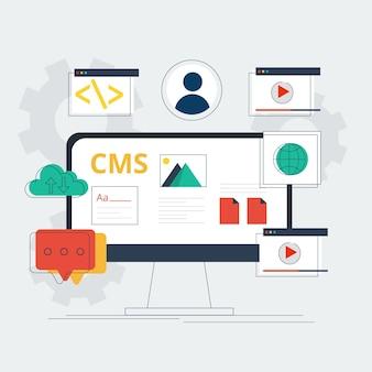 Modello di pagina di destinazione cms design piatto