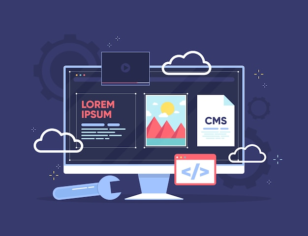 Flat design cms on transparent screen with apps