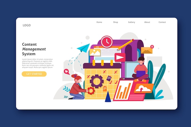 Flat design cms website