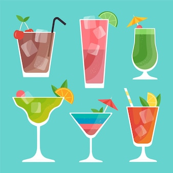 Flat design cocktail collection concept