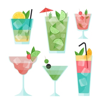 Flat design cocktail collection theme