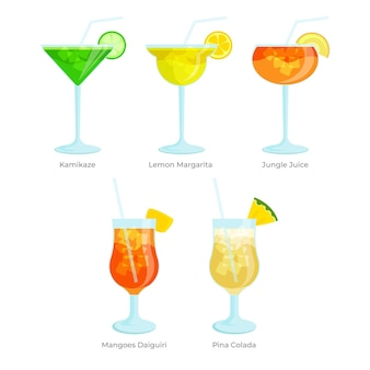 Flat design cocktail collection