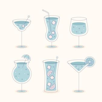 Плоский дизайн коллекции коктейлей
