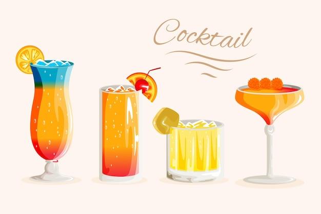Collezione di cocktail design piatto