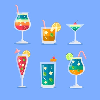 Flat design cocktail illustration set