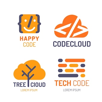 Flat design code logo collection