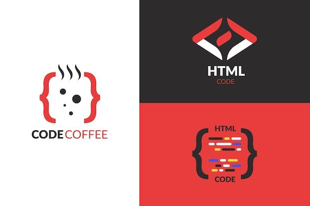 Collezione di logo di codice design piatto