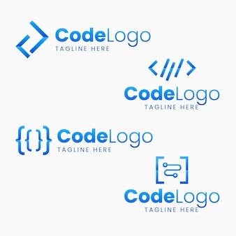 Pacchetto logo codice design piatto
