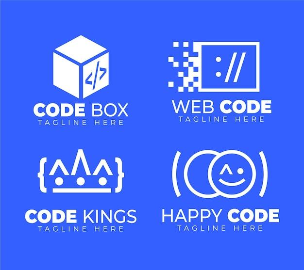 Flat design code logo pack