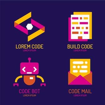 Плоский дизайн кода логотипа