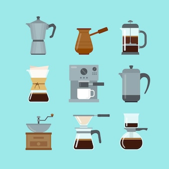 Flat design coffee brewing methods collection
