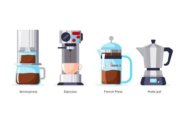 Набор методов заваривания кофе в плоском дизайне