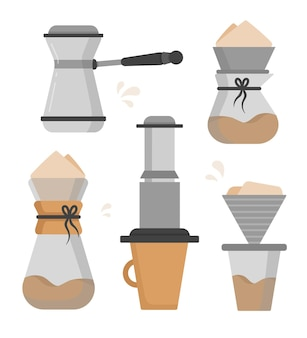 Flat design coffee brewing methods