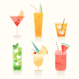 Flat design collection of different cocktails