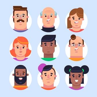 Collezione di design piatto di diverse icone del profilo