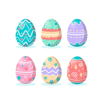 Flat design collection easter day egg