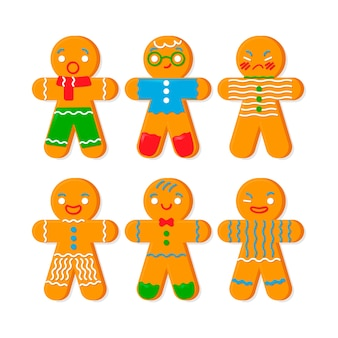 Flat design collection gingerbread man cookie