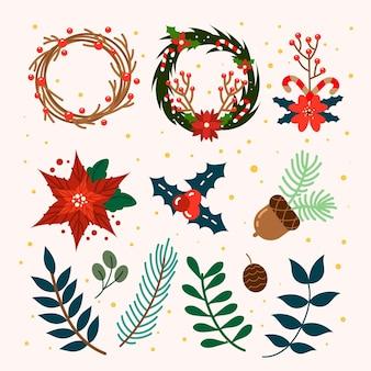 Плоский дизайн коллекции рождественских венков и цветов