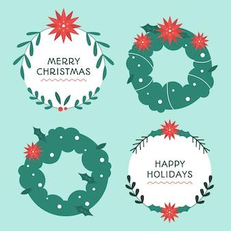 Плоский дизайн коллекции рождественских венков