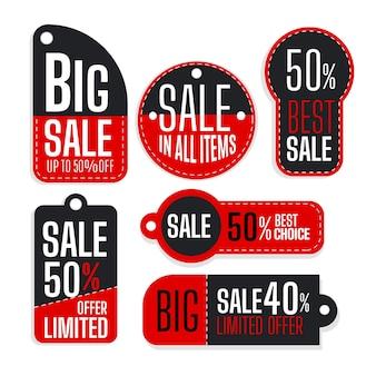 Collezione design piatto di tag di vendita