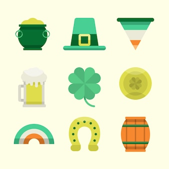 Flat design collection st. patrick's day label