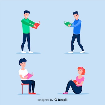 Flat design collection of teenagers reading