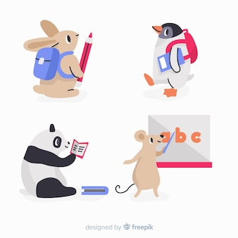 Flat design collection with wild animals