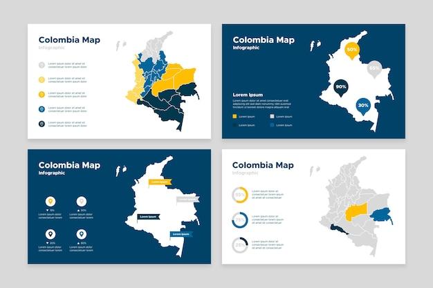 Плоский дизайн карты колумбии инфографики