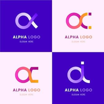Loghi alfa colorati design piatto