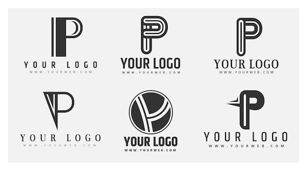 Flat design colored p logos set