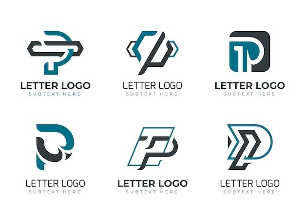 Flat design colored p logos set