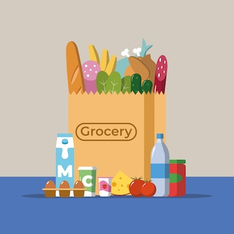 Flat design colored vector illustration of food and drink products falling down into paper bag, concept for retail.