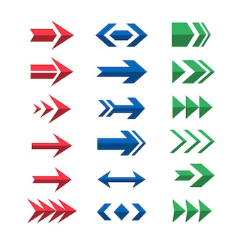 Flat design colorful arrow set