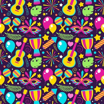 Flat design colorful brazilian carnival pattern