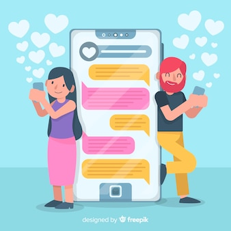 Flat design colorful characters chatting on dating app