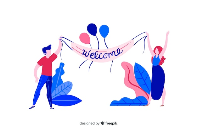 Flat design colorful characters welcoming