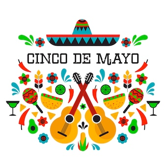 Flat design colorful cinco de mayo concept