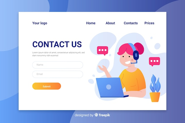 Flat design colorful contact us landing page with female operator talking
