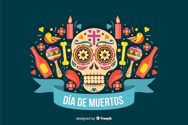 Flat design of colorful dia de muertos background