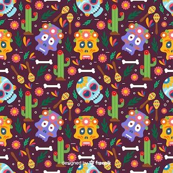 Flat design of colorful dia de muertos pattern
