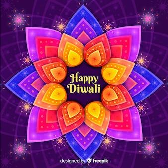 Flat design of colorful diwali background