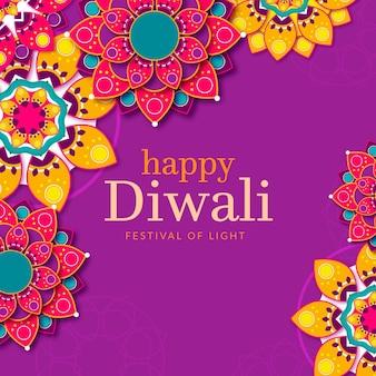 Flat design colorful diwali event