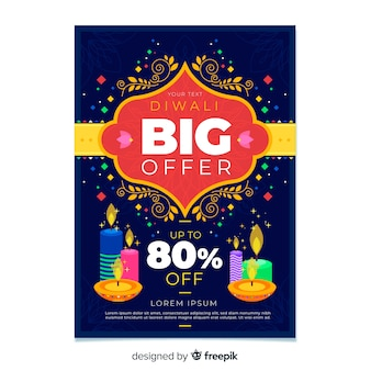 Flat design of colorful diwali sale flyer template