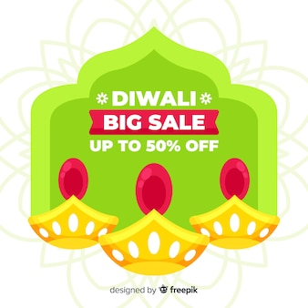 Flat design of colorful diwali sale