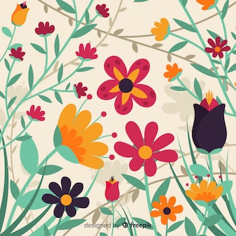 Flat design colorful floral background