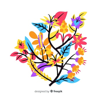 Flat design of colorful floral branch