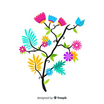 Flat design colorful floral branch