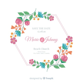 Flat design of a colorful floral wedding invitation frame
