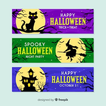 Flat design colorful full moon halloween banners